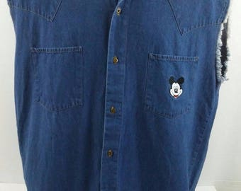 Mickey Mouse Unlimited Frayed Shirt, Men's XL. Denim Sleeveless Distressed, Vintage, Made in USA