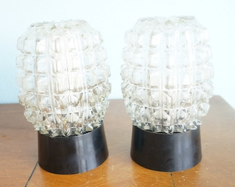 Pair of wall lamps carved glass