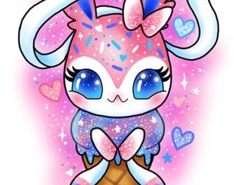Sylveon Ice cream cone oversized postcard print // pokemon kawaii cute glitter sparkle eevee fairy pastel