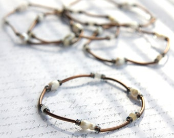 fathers Day Gift Minimal Bracelet Bohemian Jewelry Copper Tube Bracelet Amazonite or Pearl Bracelet Layering Bracelet Tribal Antiqued Custom