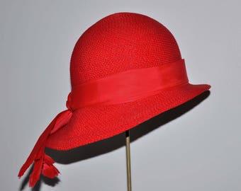 Vintage Red Wide Brim Hat, Red Wide Brimmed Hat, Vintage Red Hat, Womens Red Hat, Womens Wide Brim Hat