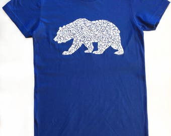 Grizzly Bear T Shirt for Men and Women on American Apparel with Wild California Animals 100% Royal Blue Cotton Sizes (S M L XL XXL)