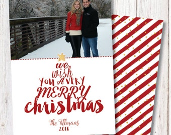 Family Photo Christmas Card, Christmas Photo Cards, Red and Gold Christmas, Gold Metallic, Photo Card, Merry Christmas, Holiday Card