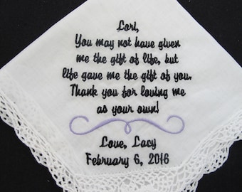 Wedding Handkerchief embroidered for the Stepmother of the Bride.
