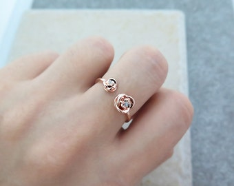 Adjustable CZ Ring/Sterling silver ring/Rose Ring/ CZ open ring /Delicate CZ ring/Stackable ring/Flower ring/Dainty rose ring/Rings