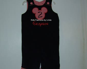Personalized Birthday  Black Corduroy/Red Gingham Longalls with Mickey Ears