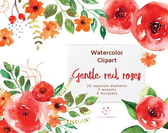 Watercolor Gentle Red Roses Clip Art set   Watercolour Flowers   Hand drawn   Floral Clipart   Hand Painted Wedding graphics   invitations