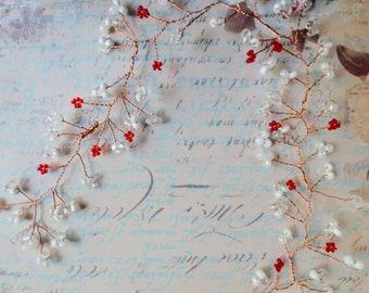 Pearl and Red Copper Hair Vine / Bridal Hair Vine / Wedding Hair Piece / Red and White Vine / Red Bridal / Bridal Accessories / Bridal Hair