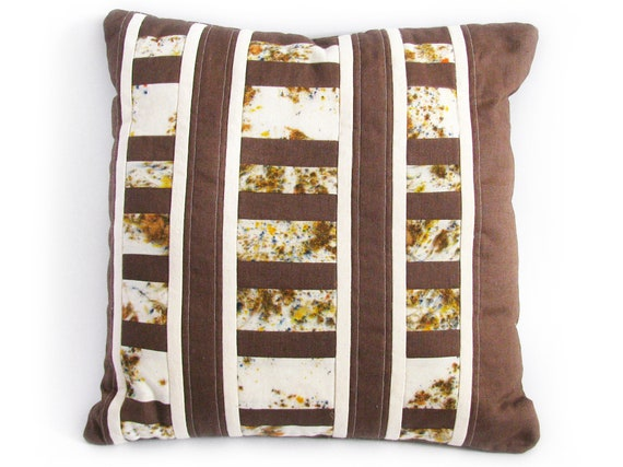 Brown Stripe Patchwork Pillow