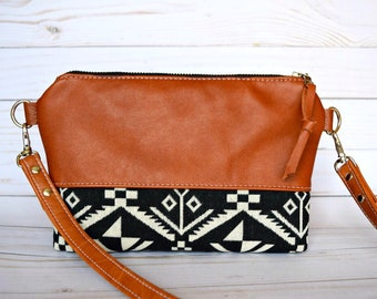Ready to ship genuine leather crossbody, aztec crossbody, aztec bag, tribal bag, tribal crossbody, black crossbody, medium crossbody bag
