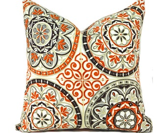 Outdoor Pillows Outdoor Pillow Covers Decorative Pillows ANY SIZE Pillow Cover Coral Pillow Waverly Outdoor Color Wheel Poppy