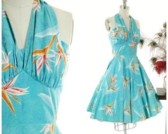 Vintage 1950s Dress - Stunning Bright Turquoise Blue Hawaiian Underbust Style Halter Sundress with Bird of Paradise Print