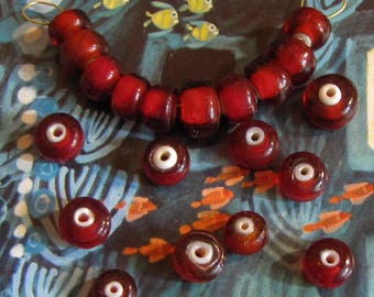 20 pieces Czech vintage ruby red Whiteheart beads