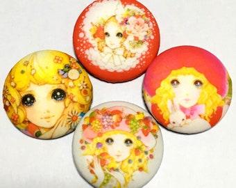 "covered button set  ""Japanese retro modern girls-ish"" (3) kawaii button"