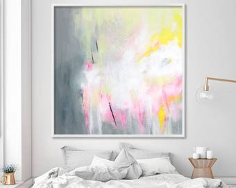 Large wall art abstract print up to 40x40 Abstract wall art, Canvas Art  grey painting with pink yellow by Duealberi