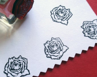 Tiny Rose Flower Rubber Stamp  - Handmade by BlossomStamps