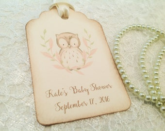 Custom Baby Shower Favor Tags-Owl Favor Tags-Personalized gift tags-Watercolor image-set of 12