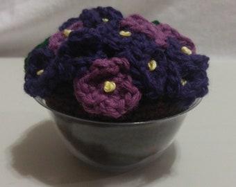 Handmade Crochet Potted Violets