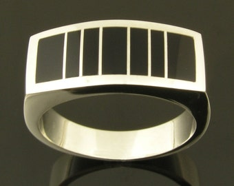 Handmade man's sterling silver ring inlaid with black onyx.