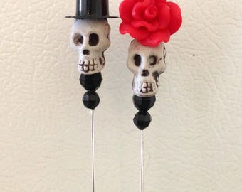 Day of the Dead Cake Topper Sugar Skull Lapel Pin Wedding Bride & Groom