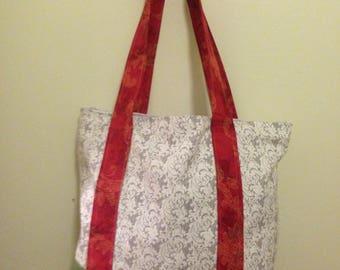 Red / Green / Gray tote bag, Handmade tote, large tote, canvas bag, boho bag, gift, gift for mom, beach bag, boho chic, teacher, artist