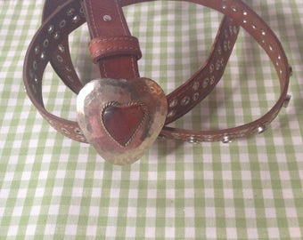 Vintage Western-Style Women's Leather Adjustable Belt--Heart-Shaped Hammered Silvertone Buckle-Chico's Made In Morocco--Hippie/Boho Belt/M/L