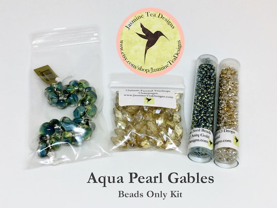 Aqua Pearl Gables Bead Kit, Beads Only, Aqua Pearl Gables Featured in Kumihimo Fiber and Bead Jewelry Magazine May 2016