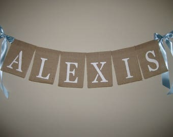 """NURSERY NAME WALL Burlap Sign - 4"""" Georgia letters - Baby Boy, Baby Girl, Baby Shower Gift, Vintage inspired Shabby Chic Pastel Nursery"""
