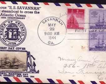 "First Day Issue Cover  1944  ""S.S.Savannah""  Stamp"