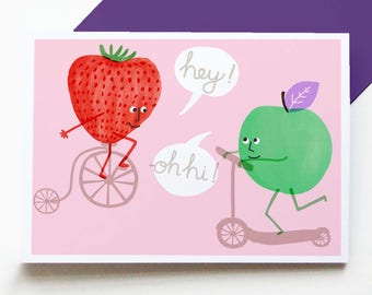 Hey Apple! - fun greetings card, kids birthday cards, hand drawn illustrated cards, children's cards