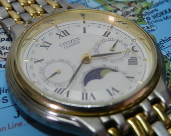Citizen 6350 Triple Date Moon Phase -NEW BATT.- AWESOME!