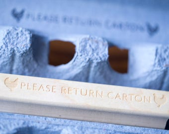 Please Return Carton Stamp - Fits Any Carton - Chicken Egg Carton Stamp
