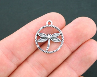 BULK 40 Dragonfly Charms Antique Silver Tone 2 Sided Circle - SC2609