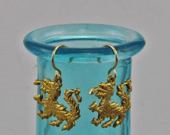 Handmade Tiny Dragon Dangle Earrings Gold Hooks