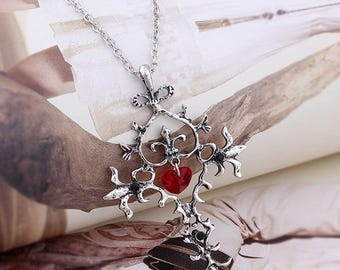 A large Silver Cross and heart red vampire Gothic 25 x 60 mm