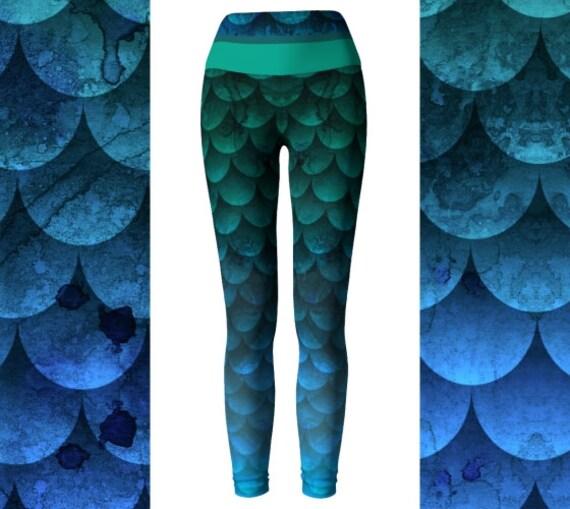 Watercolor Waves Ocean Mermaid Yoga Leggings High Waisted b18ffd24340fd