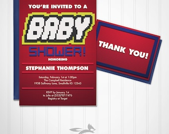 Building Brick Baby Shower Invitation with Thank You Card, Baby Boy Shower with Brick Theme, Block Baby Invite Custom Personalized Printable