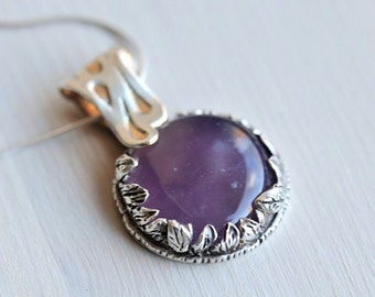 Purple stone pendant with leaf detail, one of a kind pendant, lavender purple stone necklace, sterling silver pendant, handcrafted jewelry