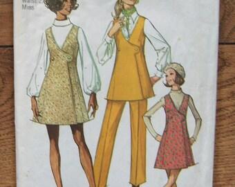 Vintage 70s Simplicity pattern 8915  Misses Mini JUMPER TUNIC PANTS  sz 14 b36