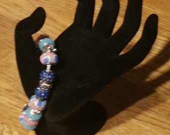 Pink and Blue Murano/Lampwork Bead Bracelet