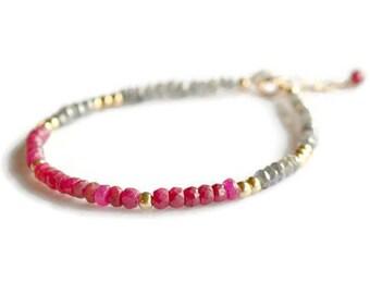 Ruby red bracelet, labradorite bracelet, gold filled bracelet, ruby jewelry, July birthstone, Valentine's day gift