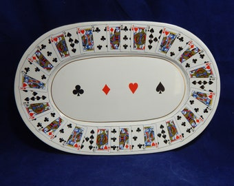 1991 Platter - Ceramic Platter with Gold Trim - CBK LTD. Playing Card Design Platter - Made in Taiwan ROC
