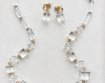 Mid-Century Lucite Necklace & Earrings