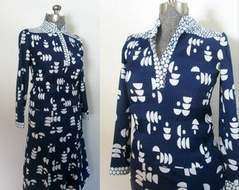 Navy White Abstract Print Skirt Top Matching Set // Vintage 1970s Hal Ferman