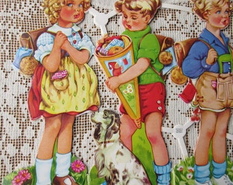 Vintage PZB Germany Paper Scraps Lithographed Die Cut Happy Children  EAS 3063