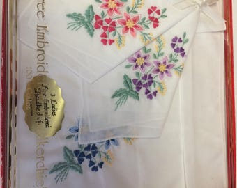 Vintage (3)  Ladies Boxed Embroidered Flowered Fine Handkerchiefs 100 percent cotton