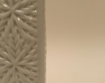 Vase. Porcelain, 1970's, white, christmas?
