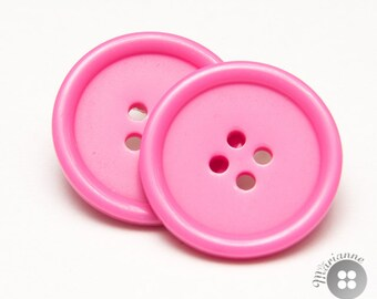 Pink button earrings - Boucles d'oreille boutons roses