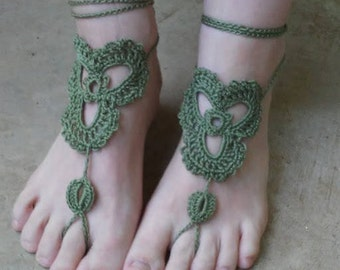 Trinity Barefoot Sandals, Celtic Petal, Triquetra, Sage, Green