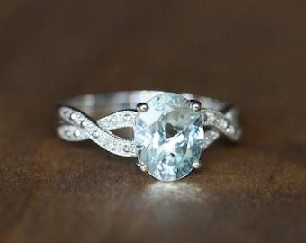 Infinity Diamond and Aquamarine Engagement Ring in 10k White Gold March Birthstone Ring Aqua Gemstone Ring, Size 7 (Resizable)